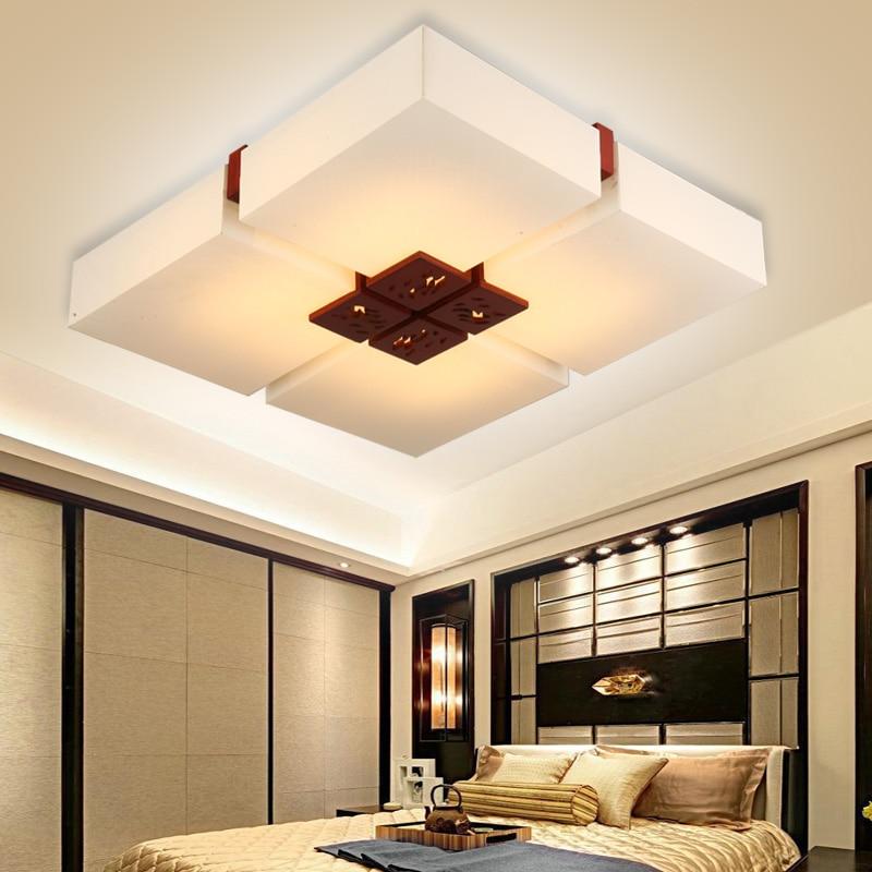 Lámpara LED de pergamino de antigüedad china, lámpara de techo cuadrada LO81415 para sala de estar, dormitorio, comedor, estudio