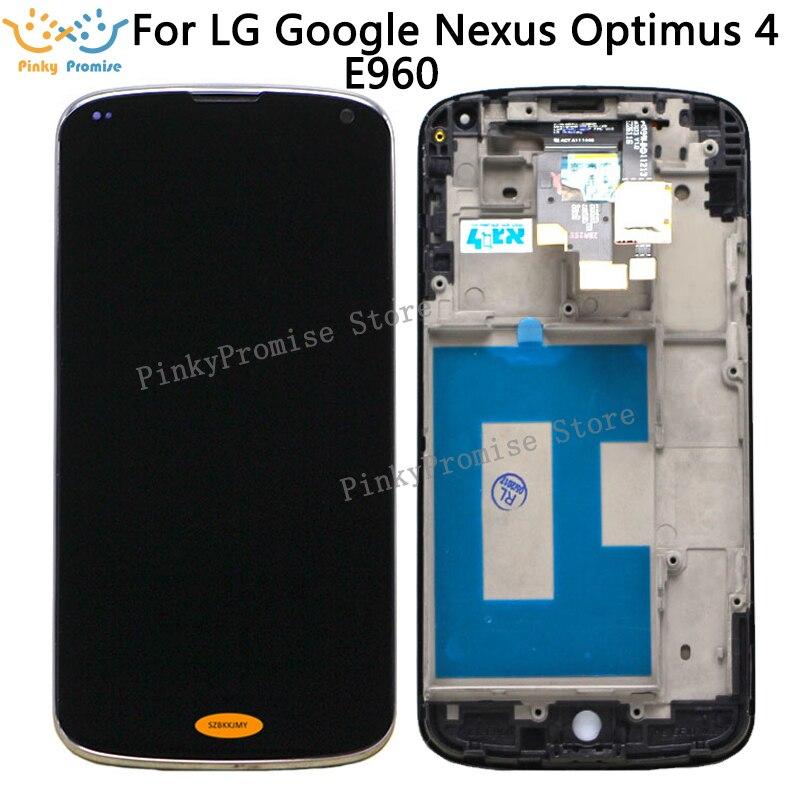 Para Lg Nexus 4 E960 pantalla Lcd con digitalizador de cristal táctil + montaje de Marco