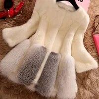 womens faux fur top lined imitation fur coat in long fur coat new winter clothing fashion whole mink fur coat patchwork coats