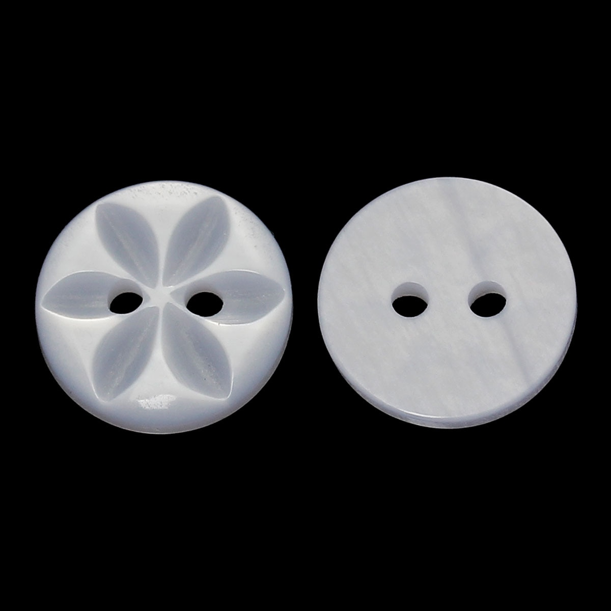 "DoreenBeads Botón de costura de resina Scrapbooking redondo blanco 2 agujeros patrón de flores 14,0mm (4/8 "") Dia, 8 Uds"