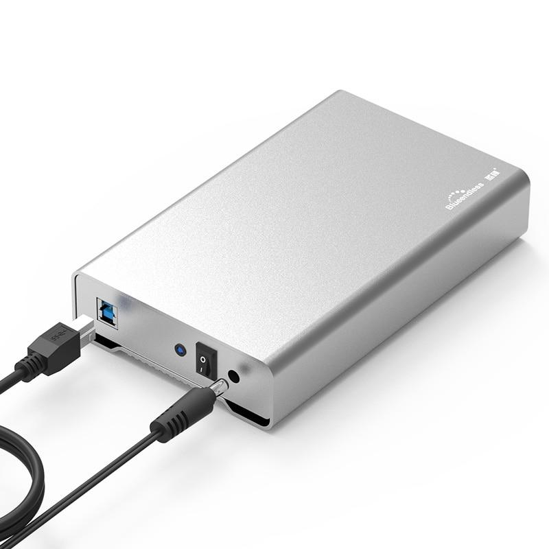 3,5 pulgadas metal Funda de disco duro móvil de la caja de disco duro USB 3,0 5gbps de disco duro de escritorio SATA hdd carcasa de aluminio bluedendless