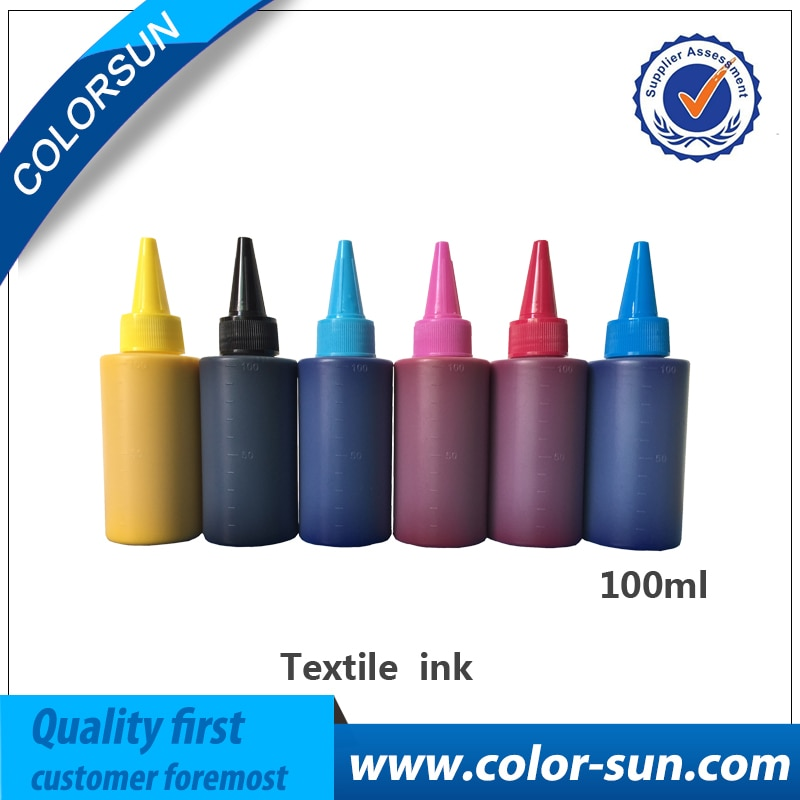 جديد النسيج الحبر 6 ألوان (CMYKLCLM) لإبسون مسطحة طابعة استخدام ل القطن الخالص تي شيرت ، الملابس