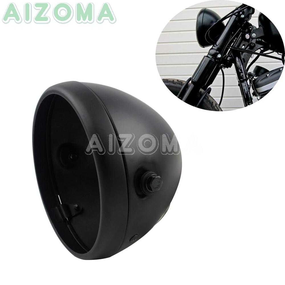 7 pulgadas mate negro LED faro Shell para Harley Sportster Softail Dyna Touring personalizado motocicleta 7 faro cubo vivienda