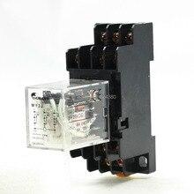 MY3J General Purpose Power Relay 3P2T 3PDT 6V 12V 24V 110V AC Coil 5A 250VAC 28VDC 35mm DIN Rail w 11 Pin 11P Base Socket