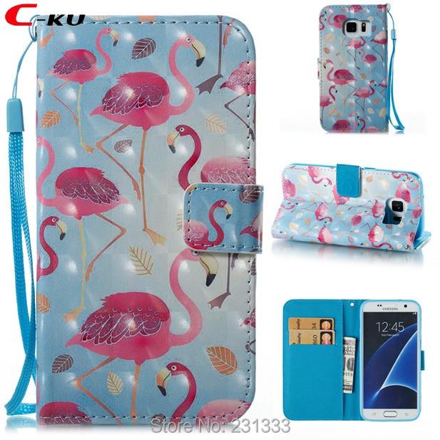 C-ku 3D Bling Correa billetera de cuero para Samsung Galaxy S7 borde S8 PLUS Nota 8 soporte etiqueta para flor Flamingo unicornio piel 1 Uds