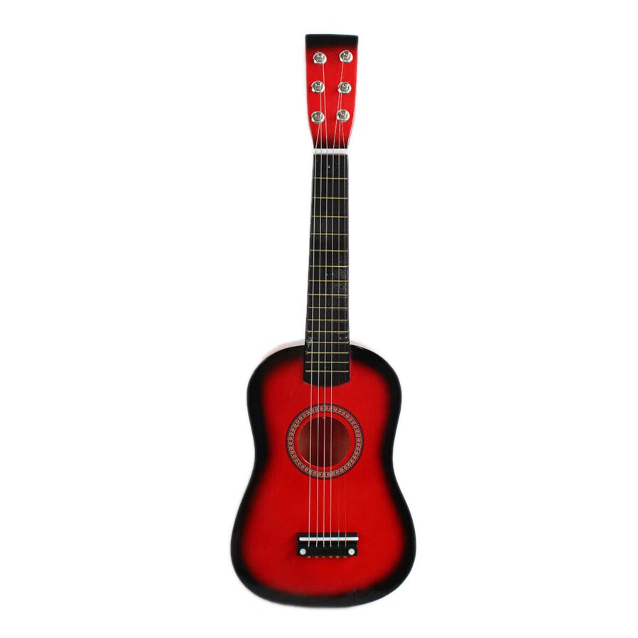 Guitarra roja de 23 pulgadas, Mini Guitarra de tilo, Juguete Musical de Chico, instrumento de cuerda acústico con Plectrum 1st String