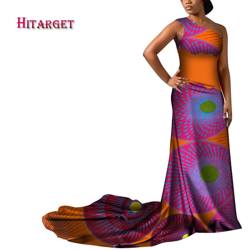 dashiki african dresses for women One shoulder splice sexy Long pendulum skirt print dress autumn WY3504