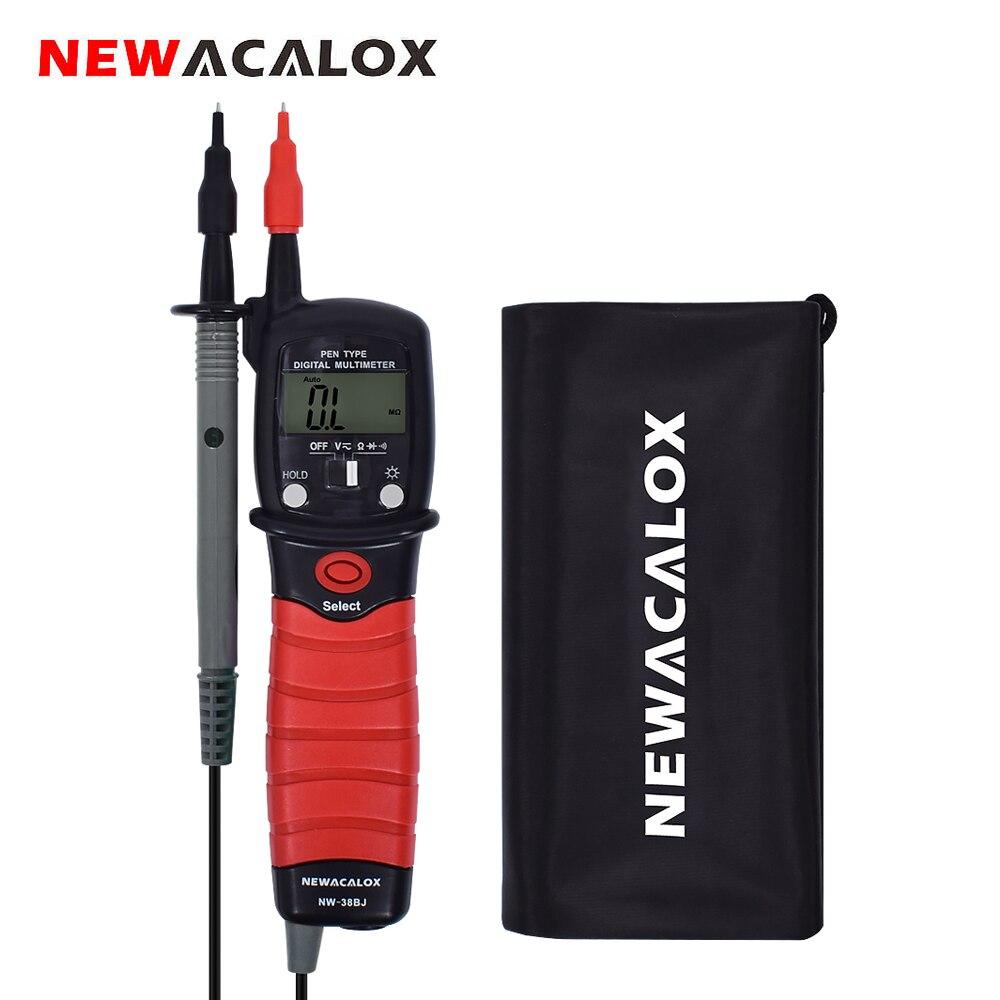Multímetro Digital de pantalla LCD de retroiluminación portátil NEWACALOX, multímetro Tipo de rotulador, medidor de resistencia de voltaje DC/AC, herramienta Analizador de continuidad de diodo