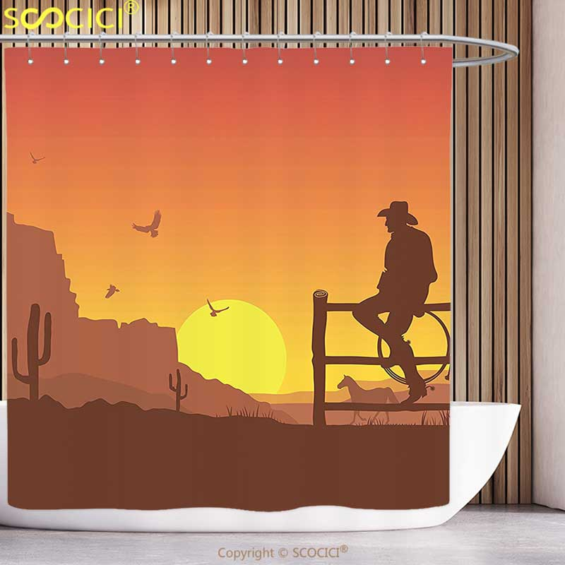 Cortina de Chuveiro divertido Ocidental Decor Silhueta de Cowboy no Oeste Selvagem Paisagem Do Por Do Sol Da Cultura Americana Imagem Impressão Artística Queimado