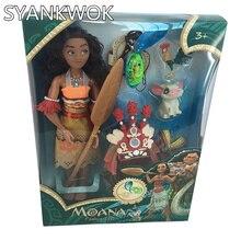 Princess Moana Doll set Kawaii Moana Light & music Change clothes Moana Action Figure Toy Christmas Birthday Gifts For Baby Girl