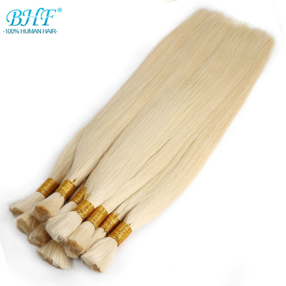 BHF-وصلات شعر أشقر طبيعية 100% بوصة ، شعر هندي ناعم بجودة ريمي ، طويل ، 100 جم