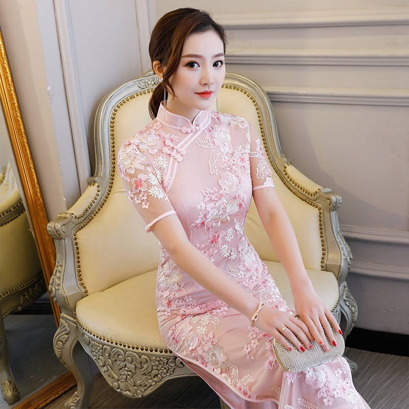 Vintage Embroidered Cheongsam Dress Women Sexy Fashion Qipao Party Dresses Traditional Chinese Clothing Oriental Dress Vestidos sleeveless european women clothing fashion vintage 3d rose flower dress red pink sexy nightclub party slim mesh dresses mujer