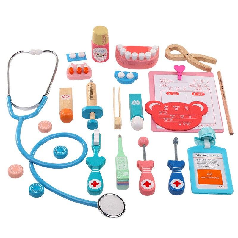20 teile/satz Kinder Pretend Arzt Spiel Spielzeug Holz Cosplay Simulation Zahnarzt Zubehör Werkzeuge Kinder Spielen Ärzte Spielzeug TY0330