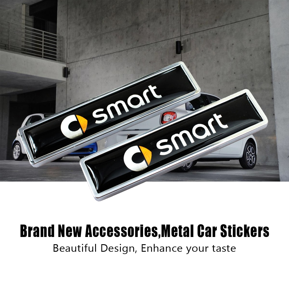 Pegatina lateral de Metal para decoración de coche, para parte trasera de carrocería, emblema de puerta de maletero, para SMART Fortwo, Roadster Pearlgrey Forfour, 1 par
