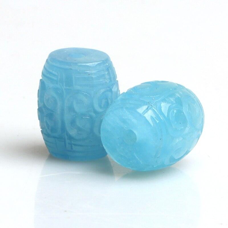 Цельный Аквамарин в форме столба, 10*14 мм, резные цветы, свободные шарики, натуральный FPPJ, оптовая продажа, драгоценный камень