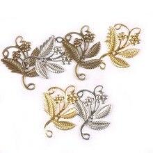 10 Uds x 52x41mm de oro/plata/de Metal de bronce de conectores para manualidades de envolturas de filigrana adorno DIY regalo suministros casa decoración yk0732