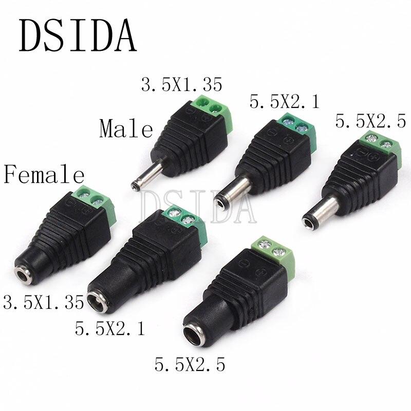 5 sztuk męskie i żeńskie DC wtyczka zasilania 5.5x2.1 MM 5.5*2.5MM 3.5*1.35MM 12V 24V Jack złącze adaptera wtyczki CCTV 5.5x2.1 2.5 1.35
