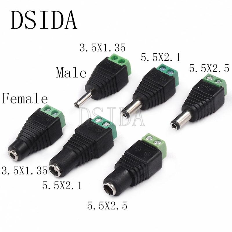 5PCS male and female DC Power plug 5.5 x 2.1MM 5.5*2.5MM 3.5*1.35MM 12V 24V Jack Adapter Connector Plug CCTV 5.5x2.1 2.5 1.35