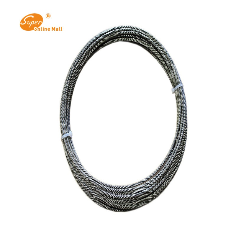 10m 1/2/3/4mm Cable de acero inoxidable de alta resistencia diámetro 7X7 estructura Cable gris