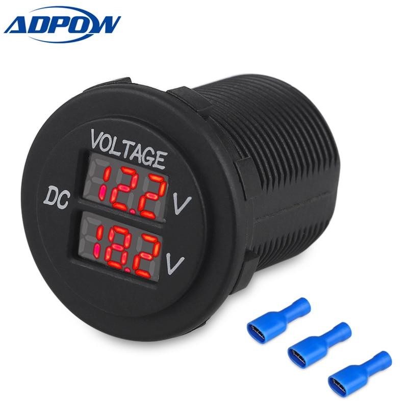 12V Car Boat Motorcycle LED Digital Dual Voltmeter AUX Main Voltage Gauge Battery Monitor Panel Auto Round Voltmeter Tester