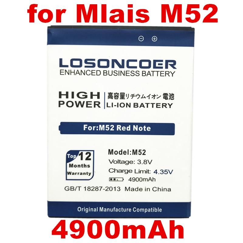 Batería de 4900mAh M52 para Mlais M52 batería de teléfono de nota roja