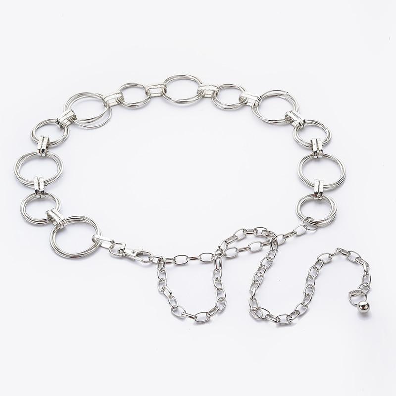 Hongmioo Fashion women's waist chain metal chain belt gold and silver color for women designer belts