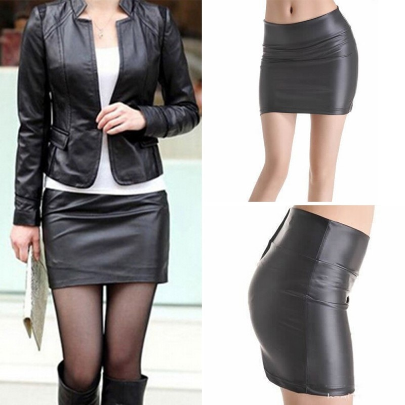 Mini falda Sexy para mujer, de piel sintética, con cremallera, cintura alta, Mini Falda corta, S-3XL SHM4For, gran oferta