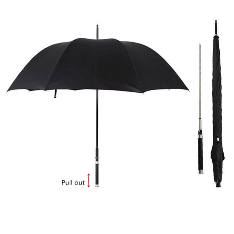 DLYLDQH Brand Fashion Long Handle Man Automatic Umbrella Windproof Business Sword Warrior Self-defense Sunny Creative Umbrella