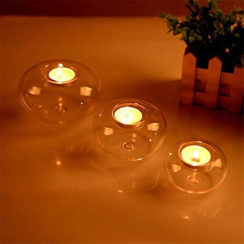 Runde hohl glas kerzenhalter hochzeit feine leuchter esszimmer hause dekor esszimmer Party decor