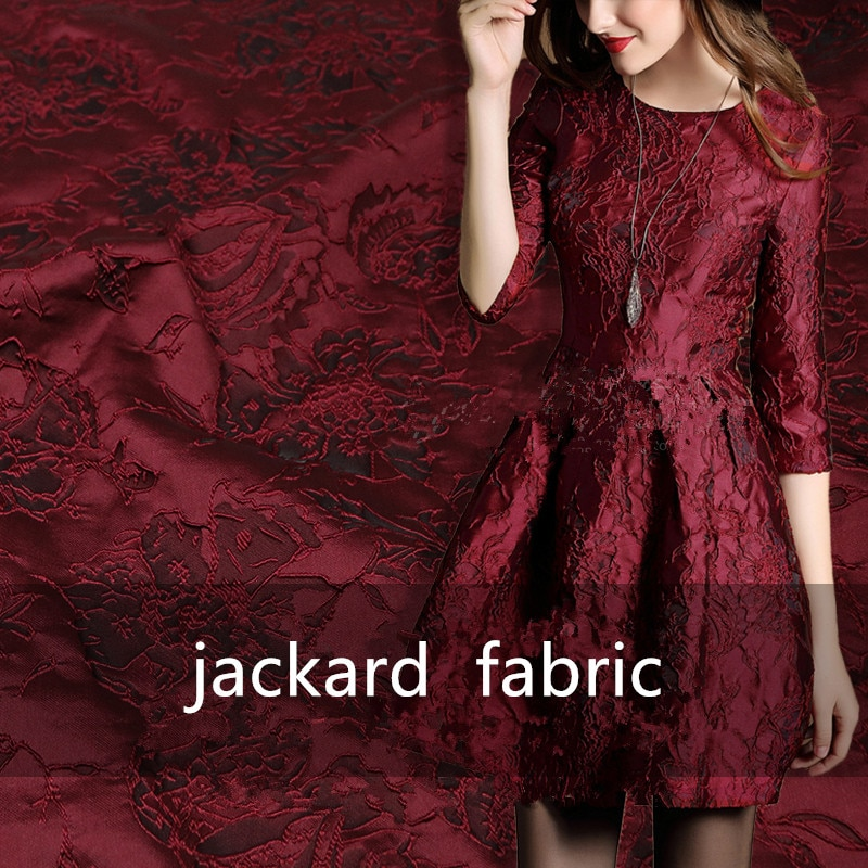 SASKIA 1 metros/lote Jacquard brocado tela encaje africano coser ropa vestido Material Patchwork ZAKKA telas 286 G/M negro vino