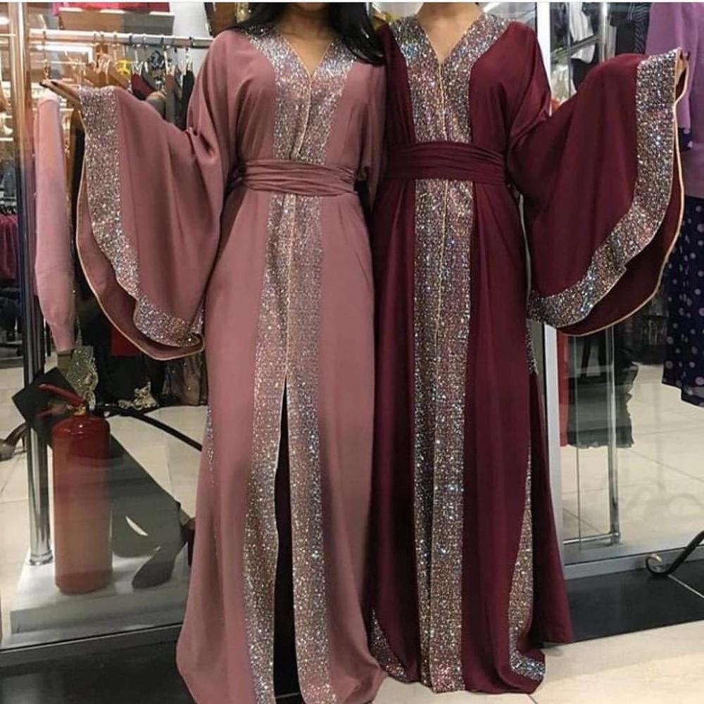 Lujo Femme Kimono Kaftan handtachonado túnica de Dubái Hijab islámico musulmán vestido Abaya de caftán marcaín Qatar Omán Turquía ropa