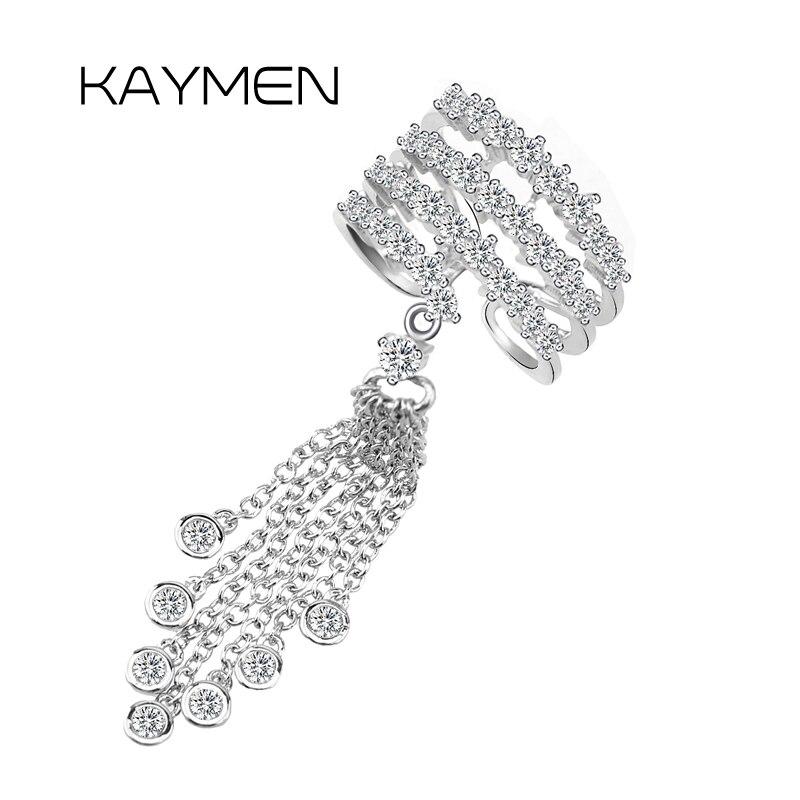 Nuevo anillo de boda de borlas de buena calidad para mujer, cobre con Zirconia, anillo estilo punk para chica, joyería de moda