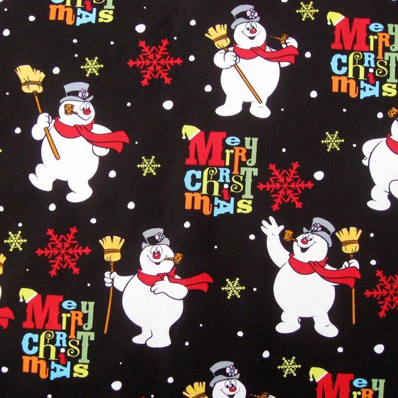 140cm * 50cm tela tejida de algodón-muñeco de nieve de Navidad y Flor de nieve (094)