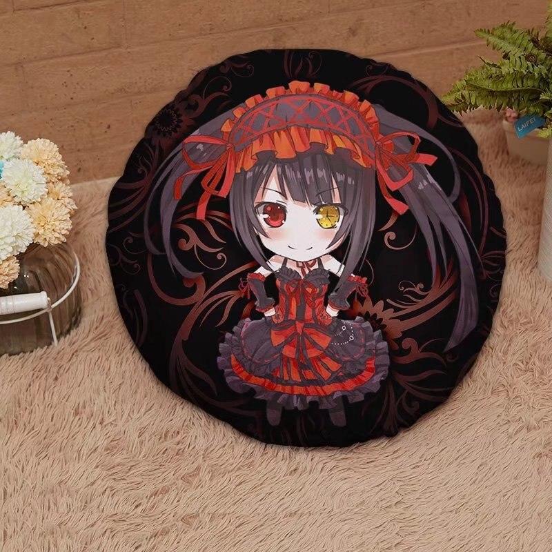 المنسوجات المنزلية التاريخ A Live Anime Tokisaki Kurumi 15.7 بوصة قماش من جلد الغزال الصغير وسادة ناعمة مستديرة هدية عيد الأم #41458