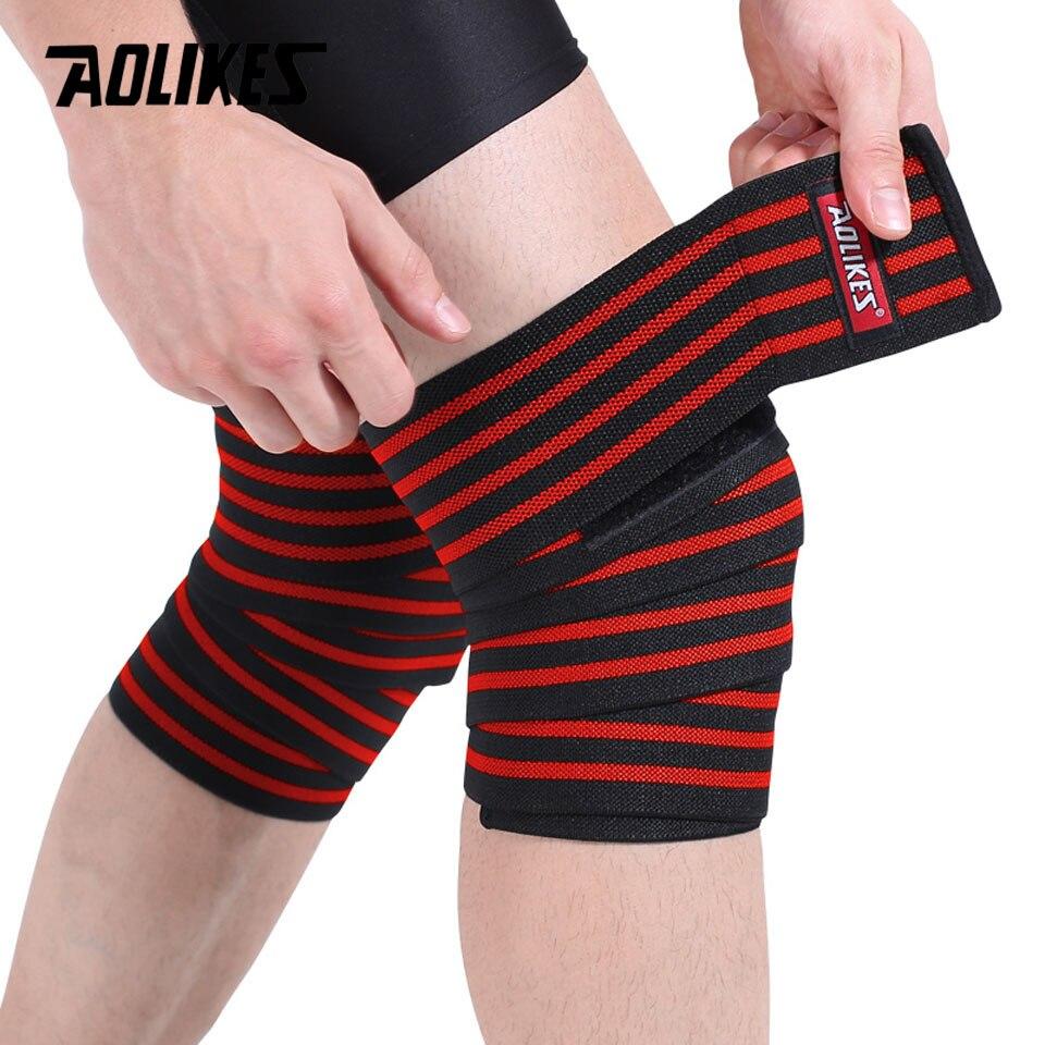 AOLIKES 1 пара наколенников для фитнеса, тяжелая атлетика, спортивный коленный бандаж приседания, тренировка, оборудование, аксессуары для спортзала