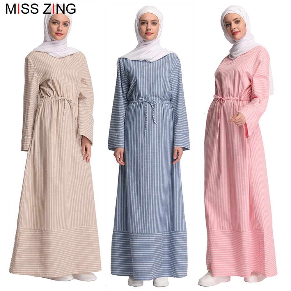Miss Zing Muslim Abaya Stripes New Dress Mesh Cardigan Tunic Kimono Long Robes Jubah Middle East Ramadan Arab Islamic Prayer