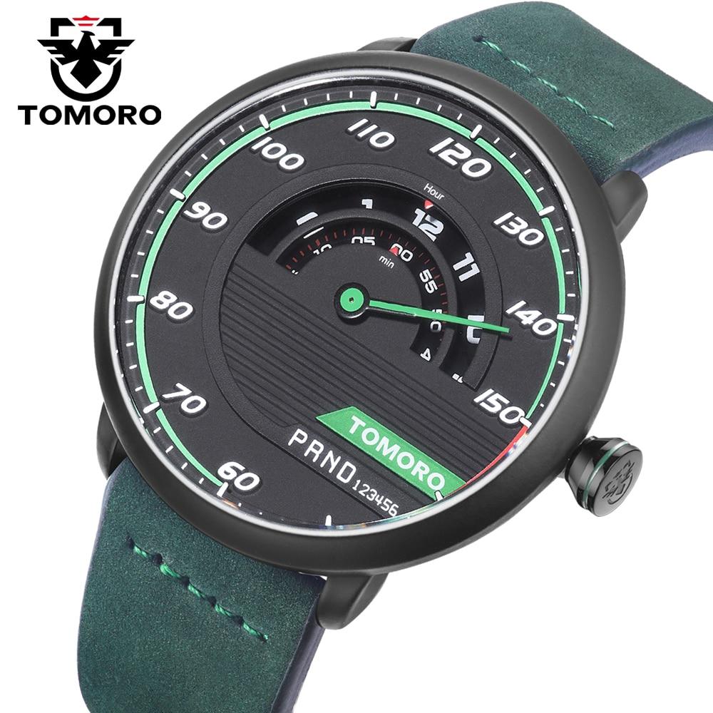 TOMORO in USA Warehouse Unique Automotive-inspired Men Quartz Clock Genuine Leather Creative Man Sport Watch for Car Enthusiast