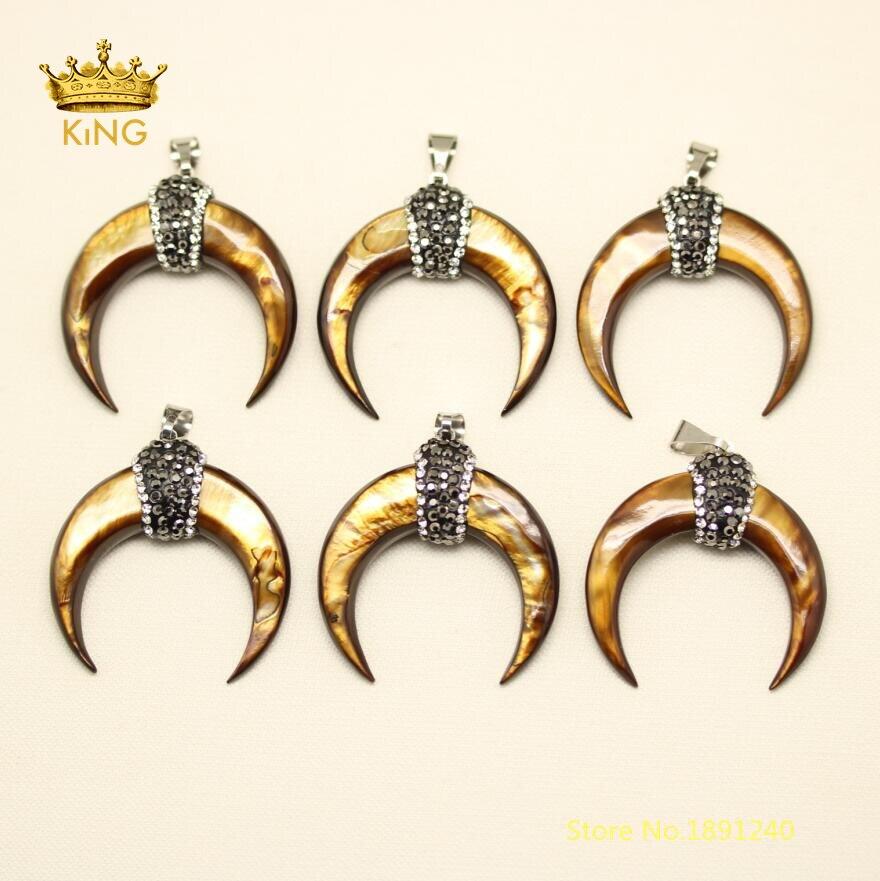 10 pièces croissant coquille pendentifs à la mode, 34mm oeil de tigre couleur marron coquille pavé strass Zircon lune coquille breloques collier LX01-1