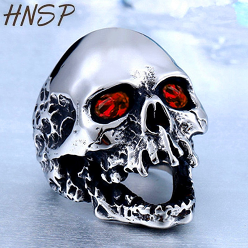 Anillo de calavera con ojos rojos HNSP Punk para hombre