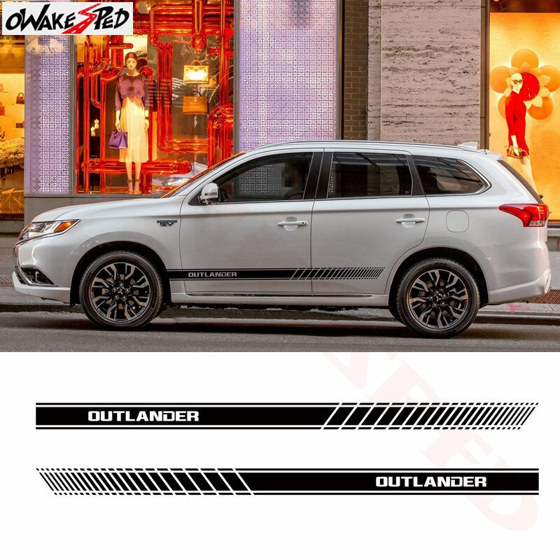 Adesivos de carro para mitsubishi outlander elegante auto saia lateral decoração adesivo vinil decalque listras estilo acessórios decalques
