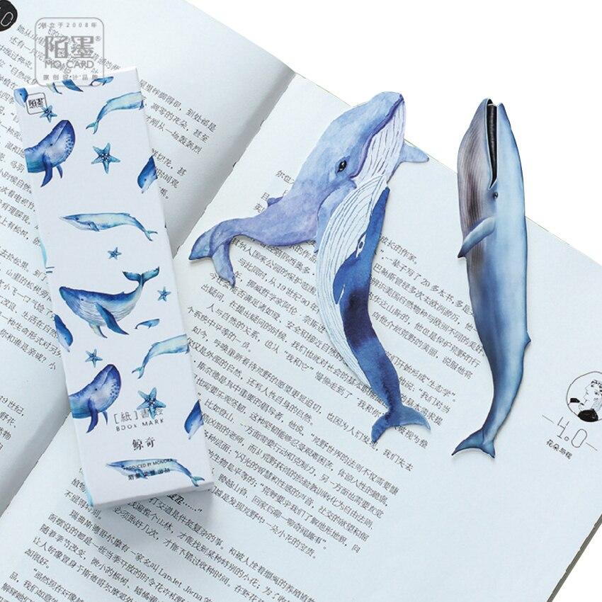 10 paquetes/lote de marcapáginas de papel de ballena Kawaii para libros, regalos, papelería, Marcadores de libro útiles escolares, papelería