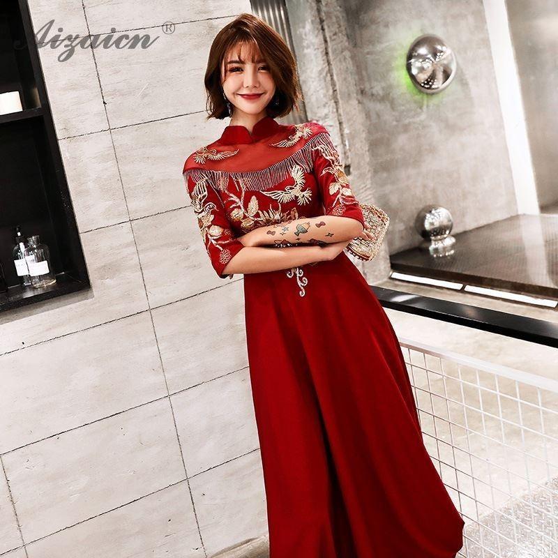 Vestido de novia China precio bordado Cheongsam rojo Vintage vestido Qi Pao mujeres Boda China vestidos borla Qipao túnica oriental