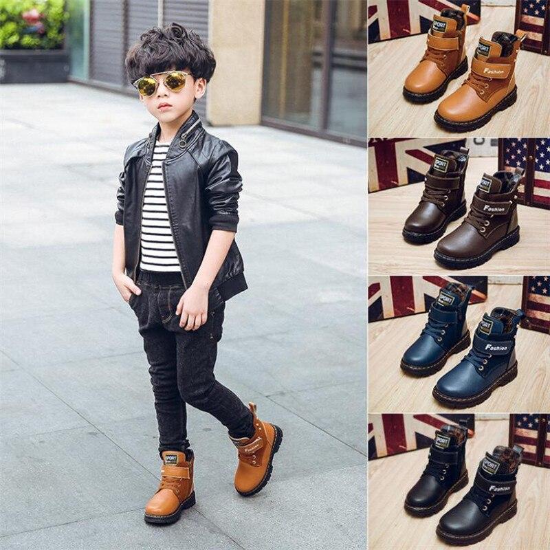 ¡Novedad de 2019! botas abrigadas de piel auténtica para otoño e invierno, botas de nieve de alta calidad para niños, botas cómodas e informales para niños