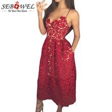 SEBOWEL élégant rouge dentelle Spaghetti sangle parti robe patineuse femmes Sexy évider nue Illusion dos nu a-ligne robes Midi
