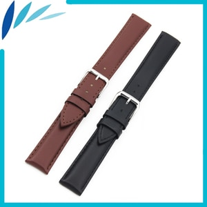 Genuine Leather Watch Band 20mm 22mm 24mm for TAG Heuer Men Women Stainless Steel Pin Clasp Strap Wrist Loop Belt Bracelet Black