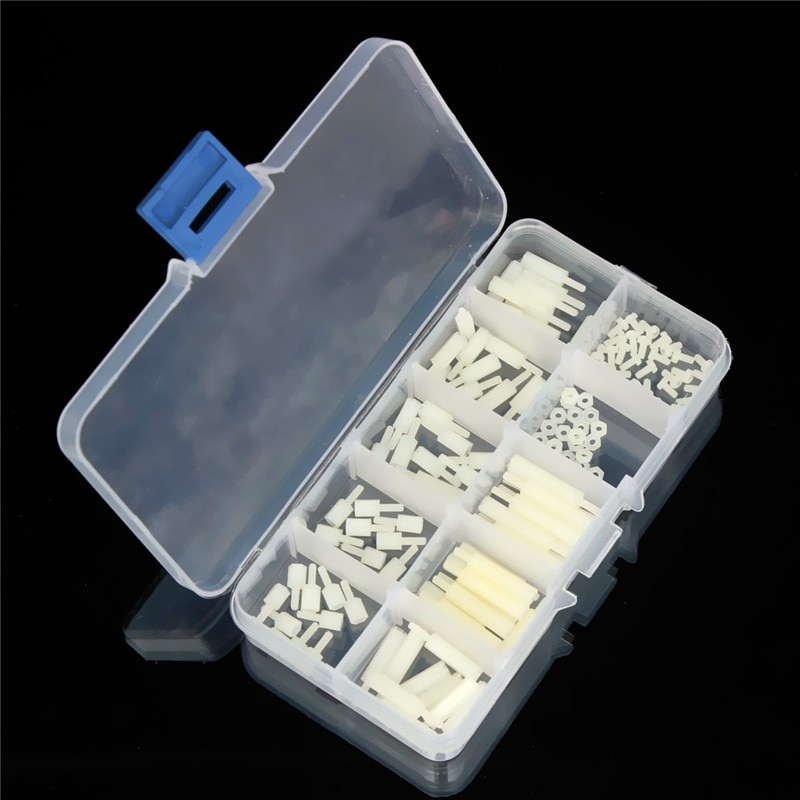 MTGATHER Nylon fuera de blanco M2 espaciadores hexagonales/tornillos/TUERCAS-caja de 140 en caja de plástico en stock