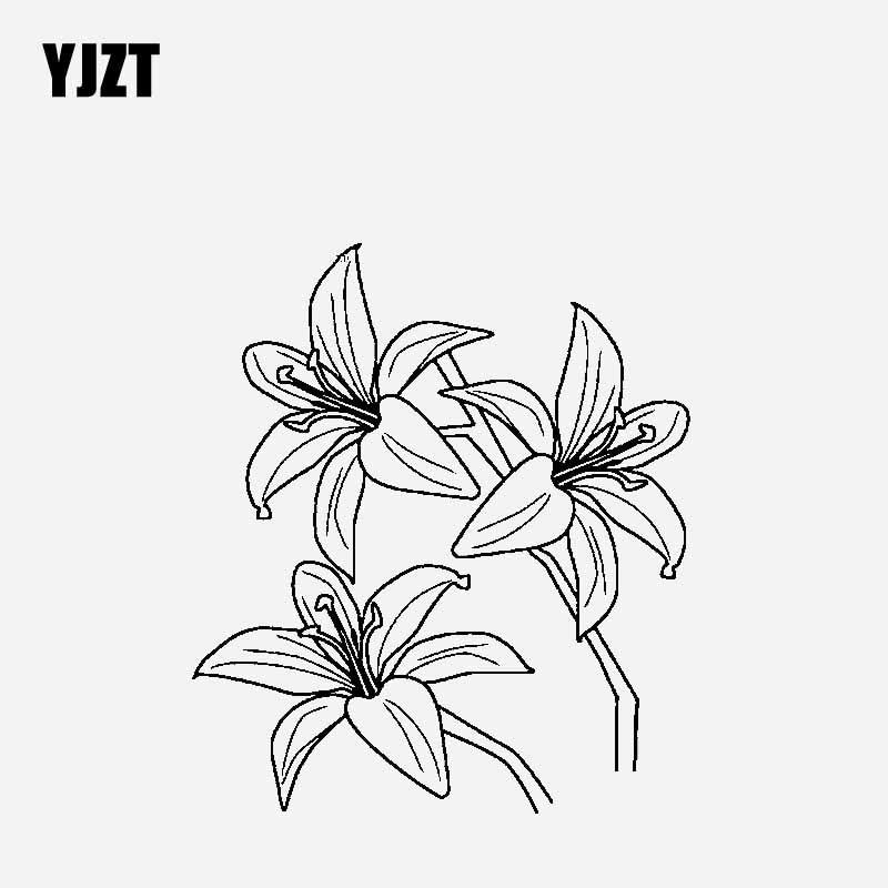 YJZT 14,5 CM * 16,6 CM narcisos pegatina decorativa para coche pegatina de vinilo negro/plata C23-0601