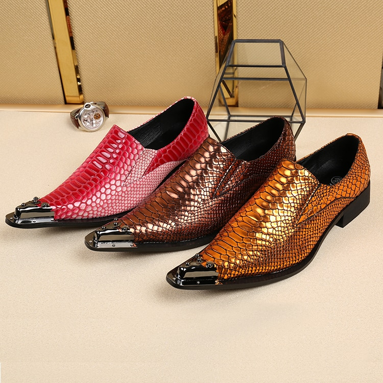 Mens italian dress leather shoes oxford alligator shoes for men steel pointed toe crocodile studded spiked loafers sapato social