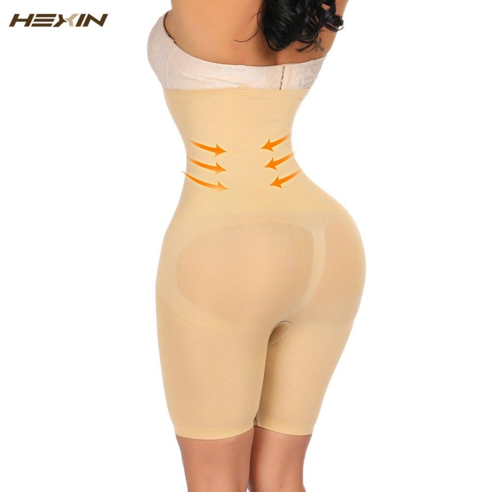 HEXIN High Waist Butt Lifter Shaper Shorts Seamless Tummy Control Shaper 4 Bones Shapewear Body Shapers Women Slimming Underwear