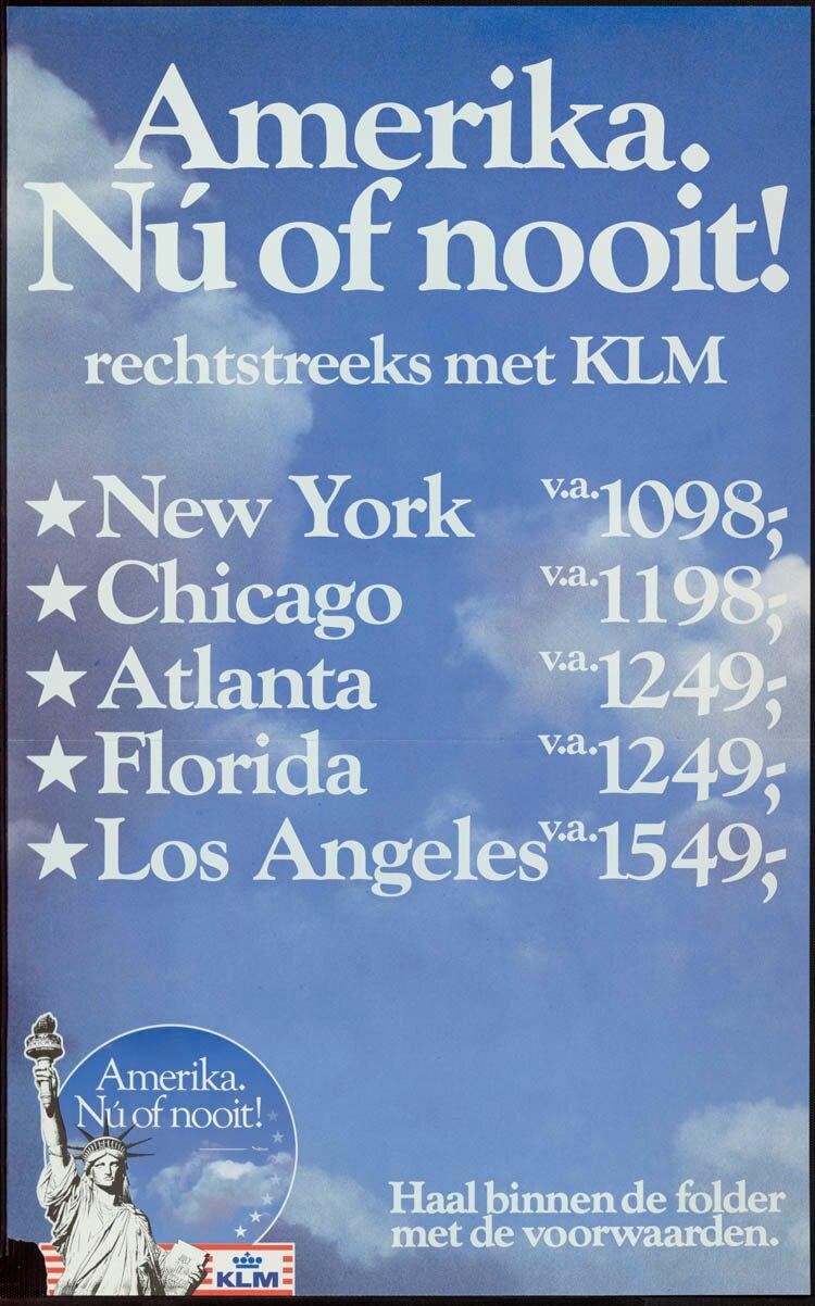 Holanda K.L.M. Rechtstreeks conheceu de Companhias Aéreas KLM Royal Dutch Presente Clássico Adesivos De Parede Cartaz Casa Bar Decoração Da Lona Do Vintage